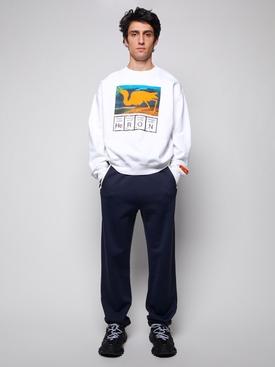 periodic table print sweatshirt, WHITE AND ORANGE
