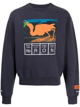 periodic table print sweatshirt, ANTHRACITE AND ORANGE