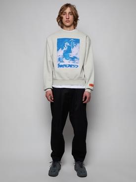 Crewneck captcha cotton sweatshirt, grey mélange and light blue