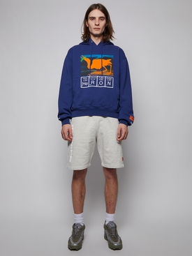 Pocket cut-out hoodie, BLUE