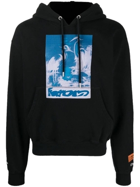 captcha cotton hoodie sweatshirt, black and light blue
