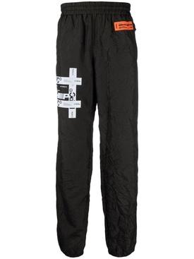 Tyvek print crinkled jogger pants