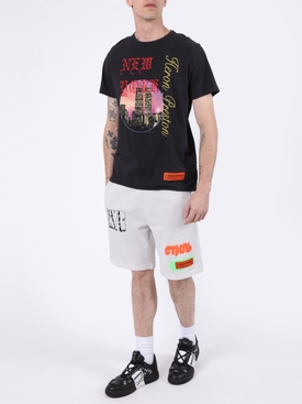 Contrasting Graffiti Spray Shorts ICE GREY