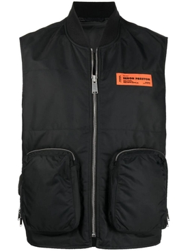 Nylon logo pocket detail vest, black