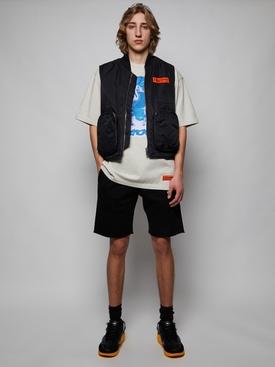 Nylon logo pocket detail vest, black