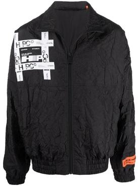 Tyvek crinkled windbreaker jacket black
