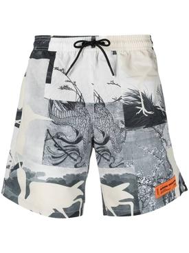 Nylon logo patch swim shorts, grey