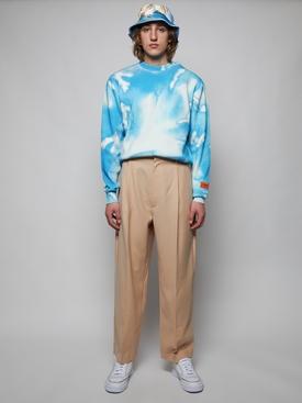 Knit splash print crewneck sweater, white and light blue