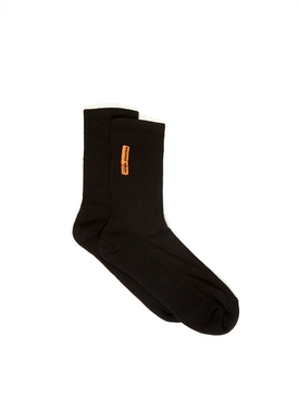 Black ribbed logo socks