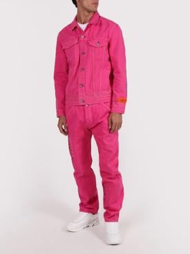 X Levis 501 fuchsia garment dye jeans