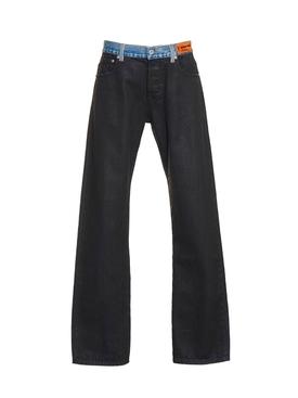 Black slim denim pants