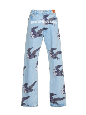 Light blue bird print denim jeans