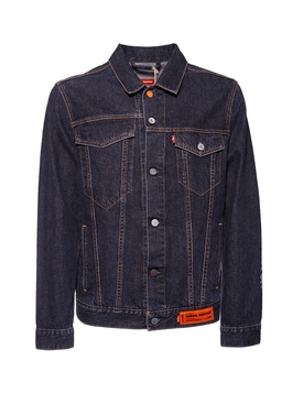 X Levi's concrete jungle black wash trucker denim jacket