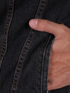 X Levi's concrete jungle black wash trucker denim jacket