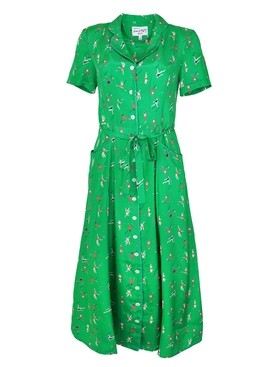 Green Tennis Maria Silk Dress