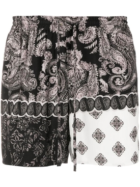 Multicolored paisley print shorts BLACK & WHITE