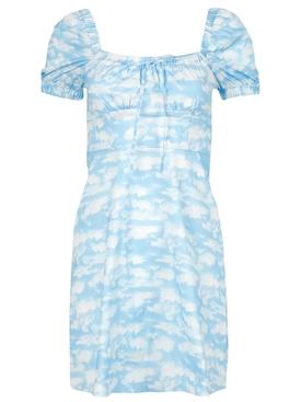 MINI HOLLAND BOW TIE CLOUD PRINT DRESS