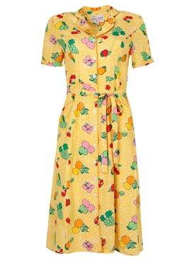 MARIA FRUIT PRINT BUTTON-DOWN PAJAMA DRESS YELLOW