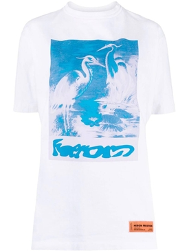 Graphic Logo Crewneck T-shirt, White and Light Blue