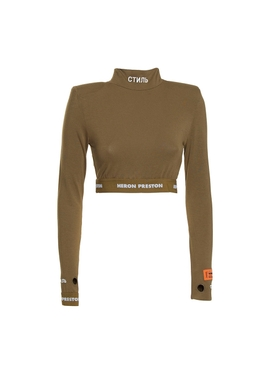 Long-sleeve crop top DARK OLIVE