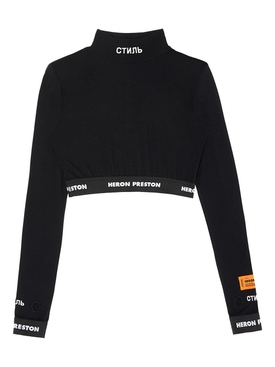 Long-sleeve crop top BLACK WHITE