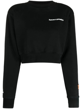 CROPPED CREWNECK WARPED LOGO SWEATSHIRT, BLACK