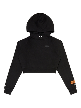 Cropped cotton hoodie BLACK  WHITE