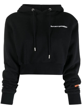 CROPPED CREWNECK WARPED LOGO HOODIE, BLACK