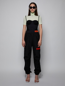 NYLON LOGO COULISSE PANTS, BLACK