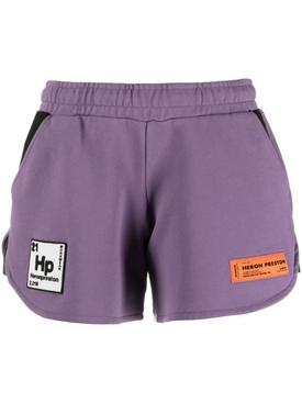 Pediodic elements logo jogging shorts PURPLE WHITE