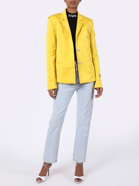 Yellow Mikado Single-Breasted Blazer