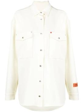 Pocket detail long sleeve button-up shirt, cream