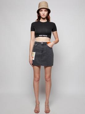 Acid Wash Denim Skirt Black