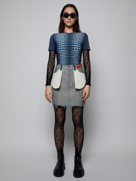 Raw Denim Reverse Mini Skirt