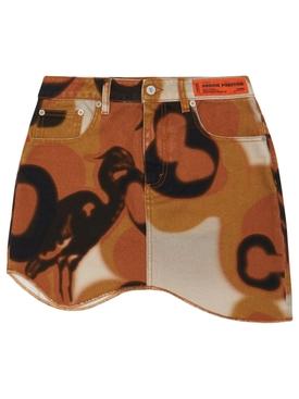 Camo Wave Skirt Brown