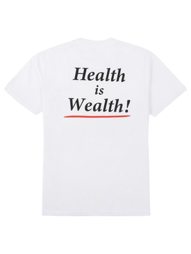 Health is Wealth T-shirt WHITE/BLACK PRINT
