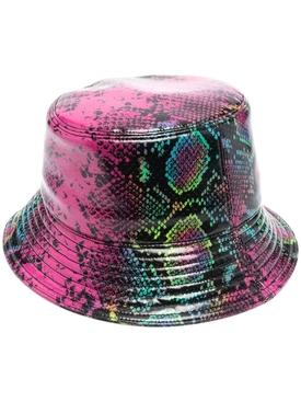 snakeskin print bucket hat PINK