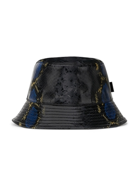 snakeskin print bucket hat BLACK BLUE