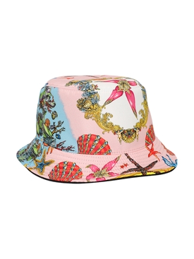 Marina print bucket hat pink