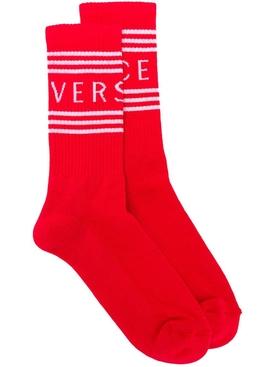stripe logo knit socks RED
