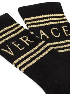 Ankle-length Logo Socks, Black and Gold