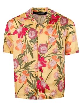 Hawaiian botanical print short sleeve shirt, yellow