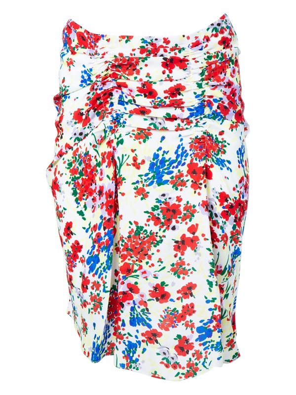 Atlein MULTICOLORED FLORAL GATHERED SKIRT