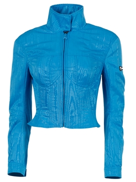 SHAPED SHORT BOMBER JACKET, COBALT BLUE