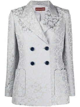 Wool blend double-breasted blazer ICY BLUE