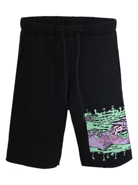 Black multicolored graphic jogging shorts