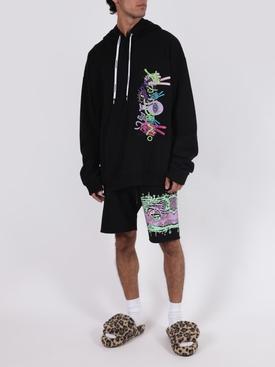 Black multicolored graphic jogging shorts