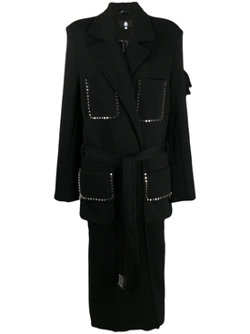 JERSEY COAT WITH SPIKED BELT