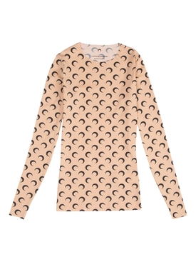 Marine Serre - All Over Moon Print Long-sleeve Top Tan/ Black - Women