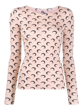 Moon Print Long-Sleeve Top NEUTRAL